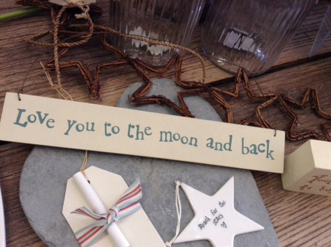 East of India Love You To The Moon And Back Wooden Sign